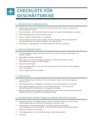 Checkliste für Geschäftsreise
