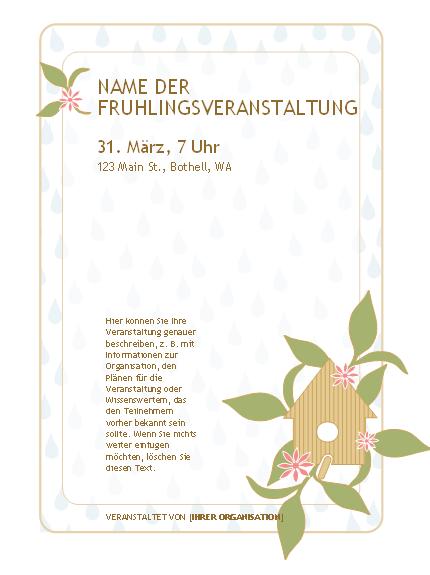 Handzettel für eine Frühlingsveranstaltung