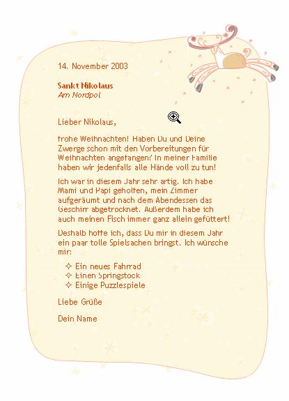 Brief an den Nikolaus