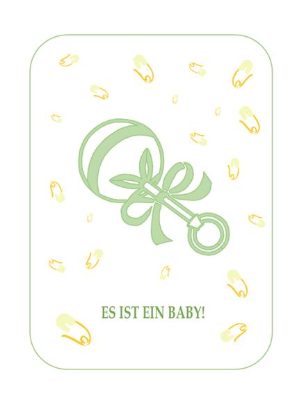 Einladung zu einer Party anlässlich einer Geburt mit UAwg-Aufforderung