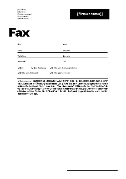 Faxdeckblatt (Professionelles Design)