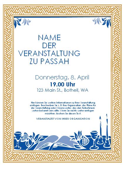 Handzettel für eine Veranstaltung zu Passah