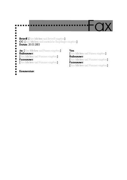 Faxdeckblatt (persönlich)