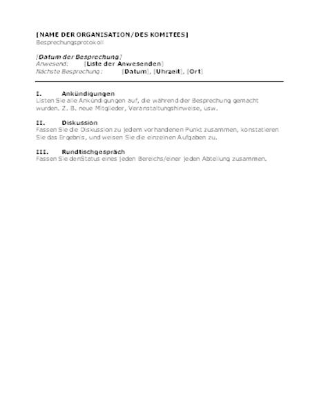 Protokoll für eine Organisationsbesprechung (kurzes Format)
