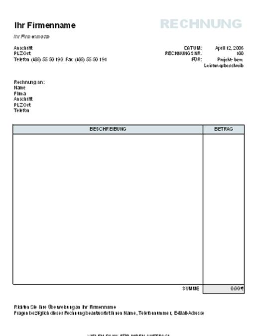Rechnung mit Berechnung des Gesamtbetrags