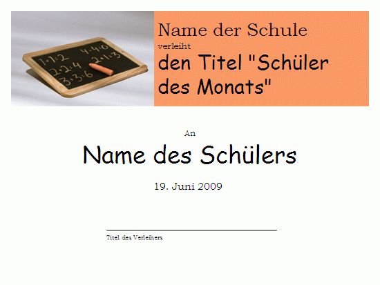 "Titel ""Grundschüler des Monats"""