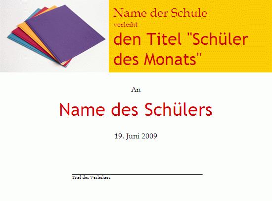 """Titel """"Abiturient des Monats"""""""