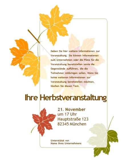 Handzettel für eine Herbstveranstaltung (mit Blättern)