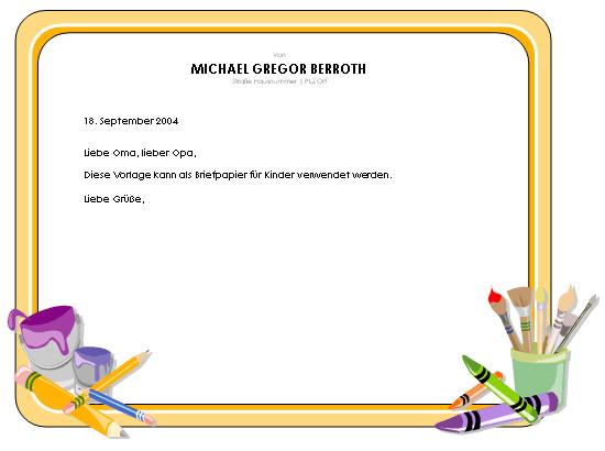 Briefkopf für Kinder