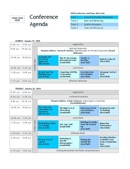 Konferenzagenda mit zeitgleichen Veranstaltungen
