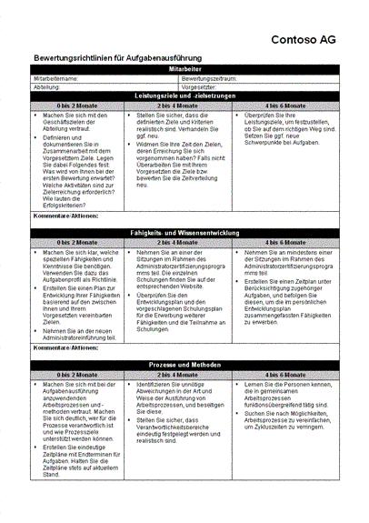 Bewertungsrichtlinien für Aufgabenausführung