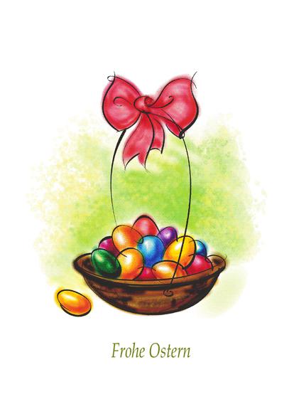 Osterkarte (mit einem Korb mit Eiern)