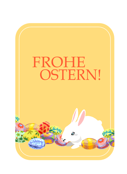 Osterkarte (mit Osterhase und Eiern)