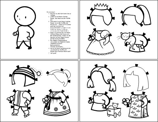 Papierpuppe (Mädchen, zum Ausmalen)