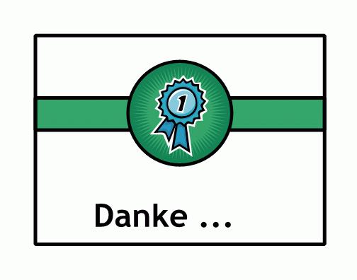 """Dankeskarte (mit Schleife """"Erster Platz"""")"""