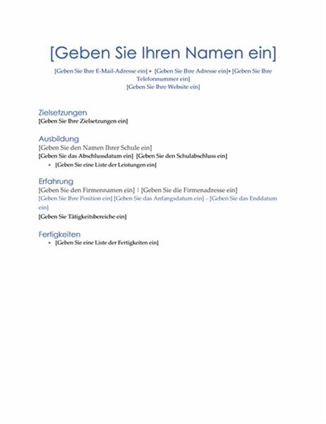"""Lebenslauf (Design """"Führung"""")"""