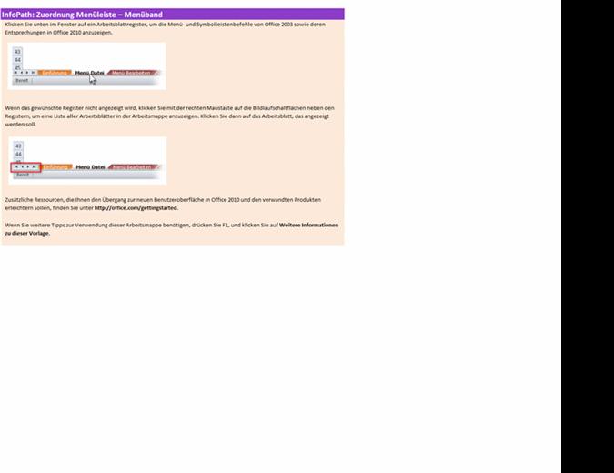 Referenzarbeitsmappe: InfoPath 2010-Menüband im Vergleich zur menügesteuerten Benutzeroberfläche