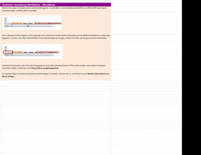 Referenzarbeitsmappe: OneNote 2010-Menüband im Vergleich zur menügesteuerten Benutzeroberfläche