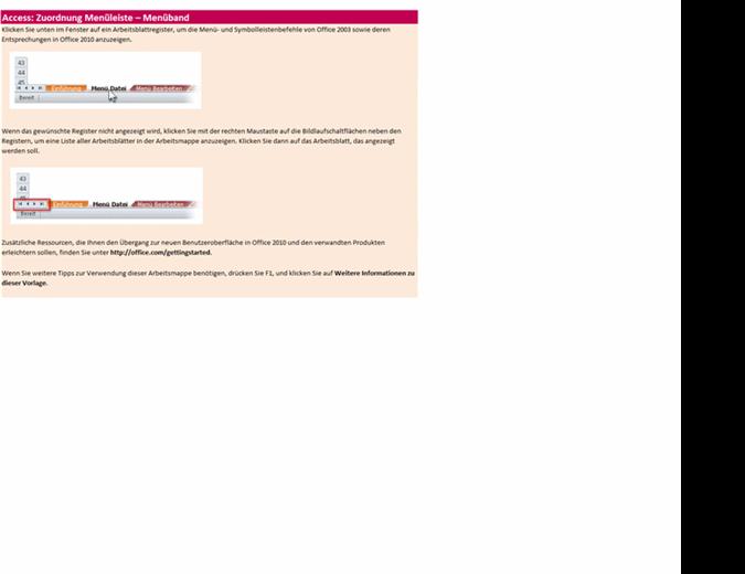 Referenzarbeitsmappe: Access 2010-Menüband im Vergleich zur menügesteuerten Benutzeroberfläche