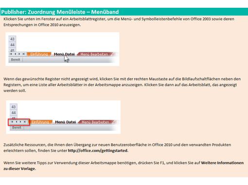 Referenzarbeitsmappe: Publisher 2010-Menüband im Vergleich zur menügesteuerten Benutzeroberfläche