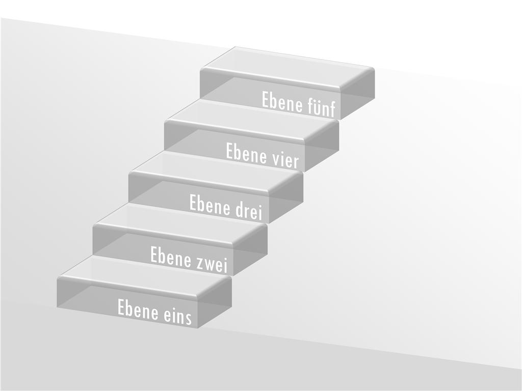 Transparente 3D-Treppenstufen mit Beschriftungen
