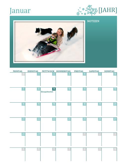 Saisonaler Familienkalender (beliebiges Jahr, Mo-So)