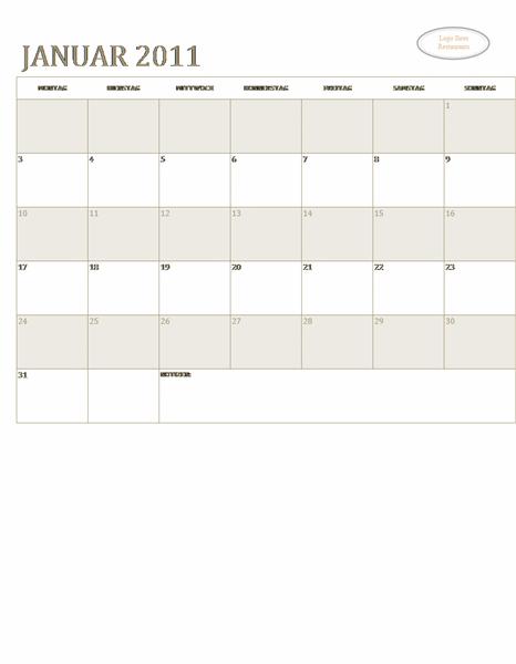 Kalender für kleine Unternehmen (beliebiges Jahr, Mo-So)