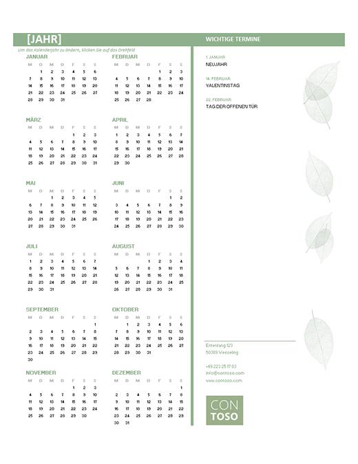 Kalender für kleine Unternehmen (beliebiges Jahr, Mo–So)