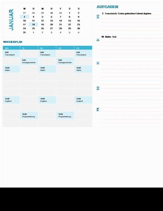 Kalender für die Wochenplanung von Schülern und Studierenden (beliebiges Jahr, Mo-So)