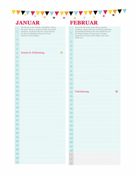 Kalender für Geburtstage und Jahrestage (beliebiges Jahr)