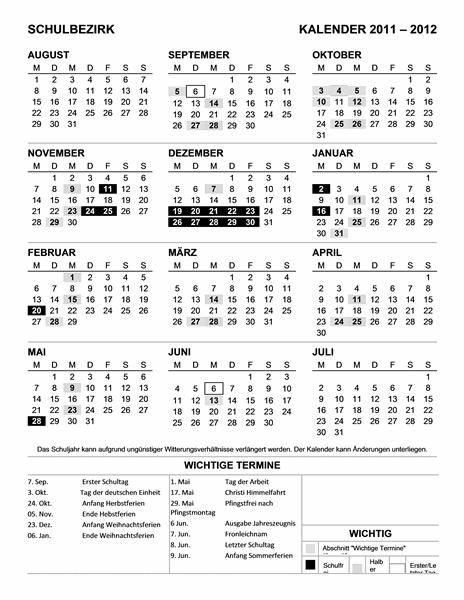 Schulbezirkskalender 2011-2012 (Mo-So)