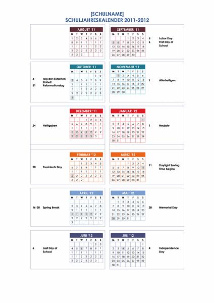 Schuljahreskalender 2011-2012 (1 Seite, Mo-So)
