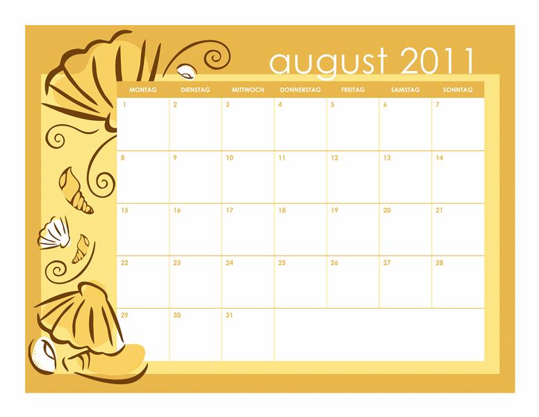 Schulkalender 2011-2012 mit Monatsdesigns (Mo-So)