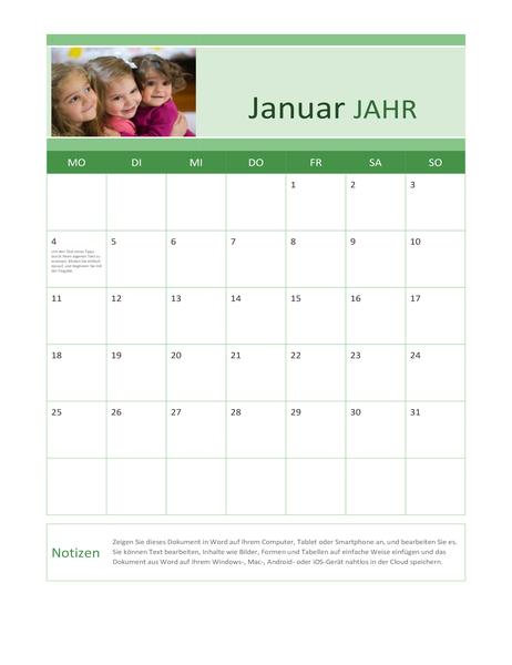 Kalender mit Familienfotos (alle Jahre)