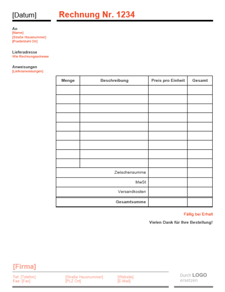 """Firmenrechnung (Design """"Rot und Schwarz"""")"""