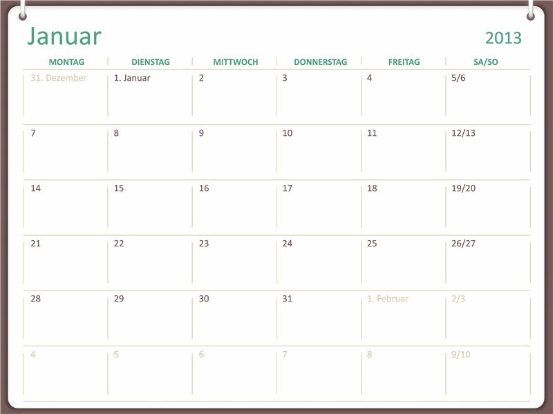Kalender 2013 im Design mit zwei Ringen (Mo-So)
