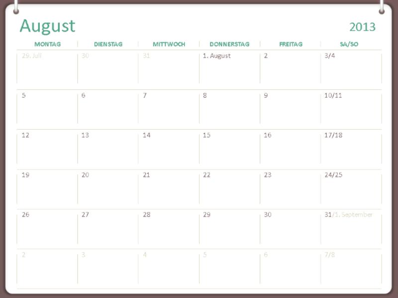 Schulkalender 2013-2014 (August)