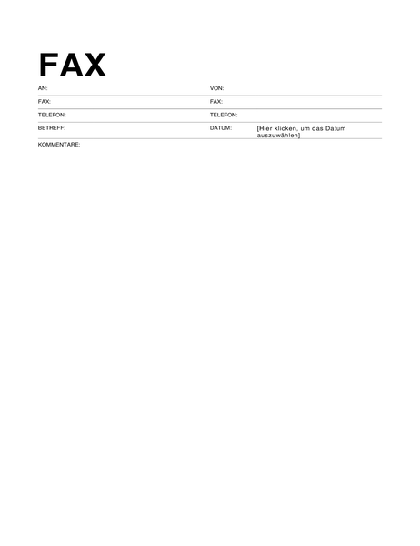 Faxdeckblatt (Standard)
