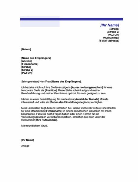Bewerbungsschreiben für eine befristete Stelle (mit blauer Linie)