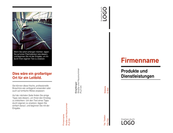 """Dreifach gefaltete Broschüre (Design """"Rot und Schwarz"""")"""