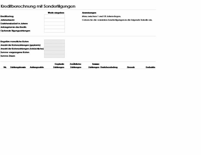 Kreditberechnung mit Sondertilgungen