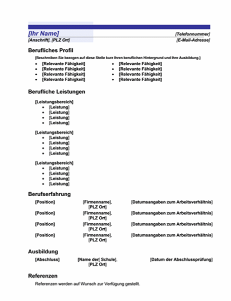 """Funktioneller Lebenslauf (Design """"Blaue Linie"""")"""