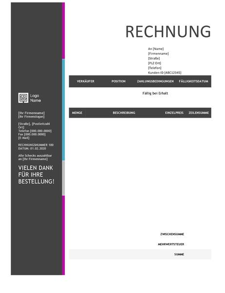 Dienstleistungsrechnung (Design mit blauem Farbverlauf)