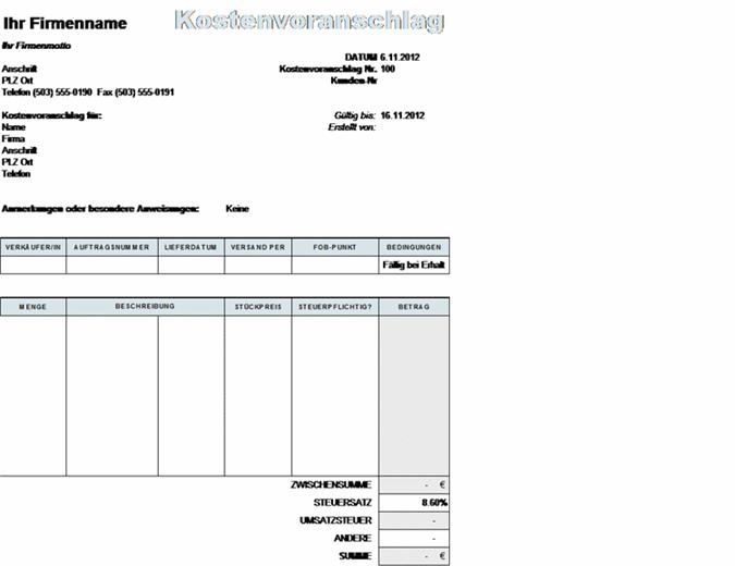 Kostenvoranschlag mit Berechnung der Steuern