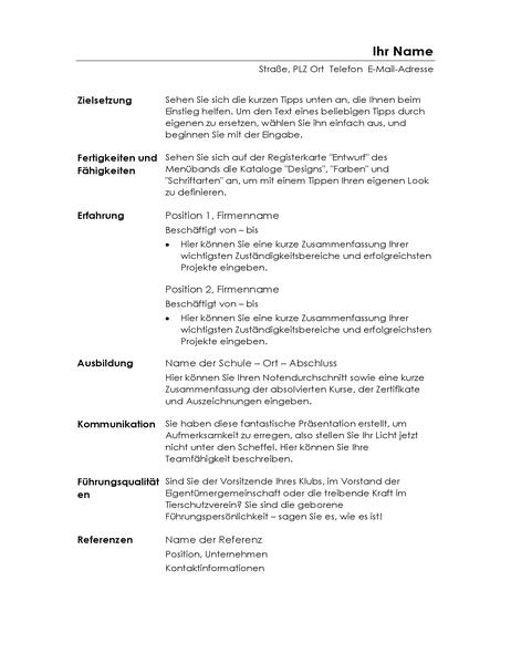 """Funktioneller Lebenslauf (Design """"Minimalistisch"""")"""