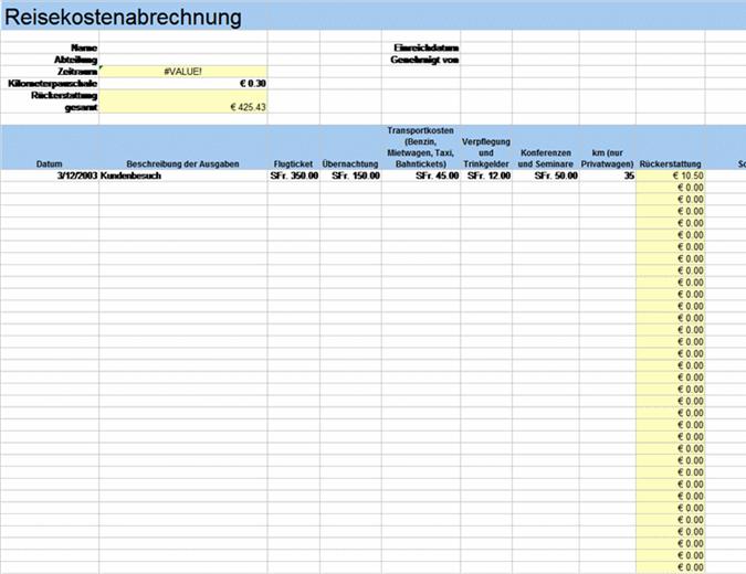Reisespesenabrechnung mit Reisekilometern