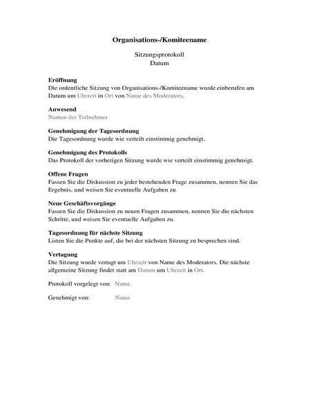 Notizen für Organisationsbesprechungen (lange Form)