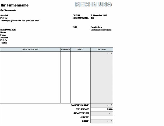 Rechnung für Dienstleistungen mit Berechnung der Steuern