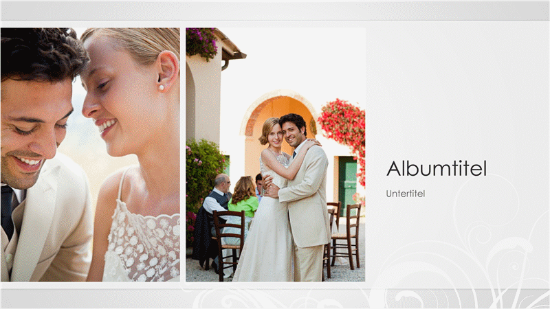 """Hochzeitsfotoalbum, Design """"Silber-Barock"""" (Breitbild)"""