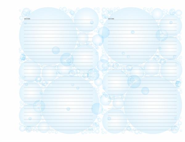 """Tagebuchseiten (Design """"Seifenblasen"""", Querformat)"""